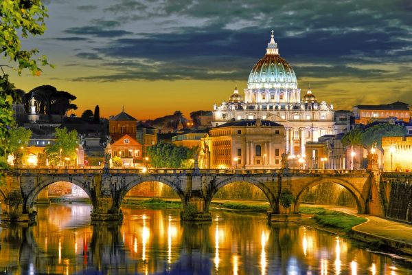 Rome: A stunning view of the St. Peter Basilica's dome by night